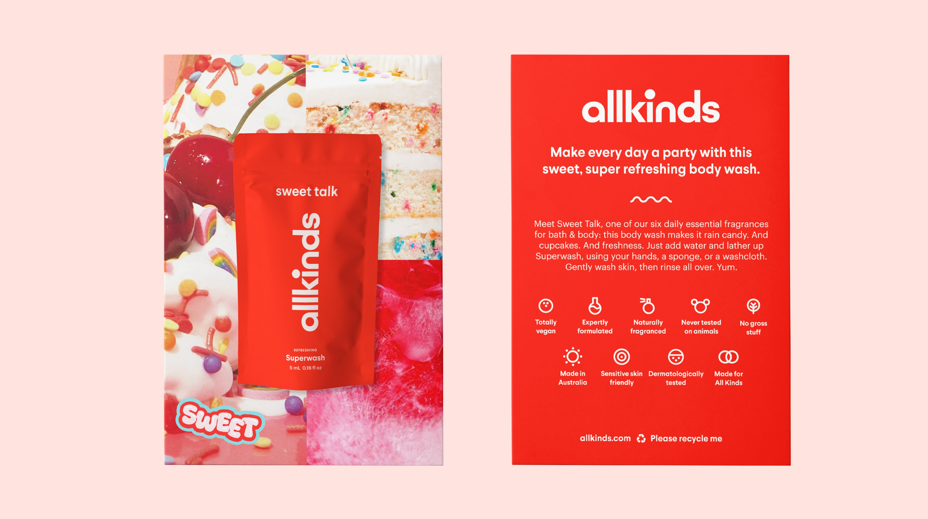 Allkinds Sweet Talk Superwash sample and sampling card packaging for retail distribution