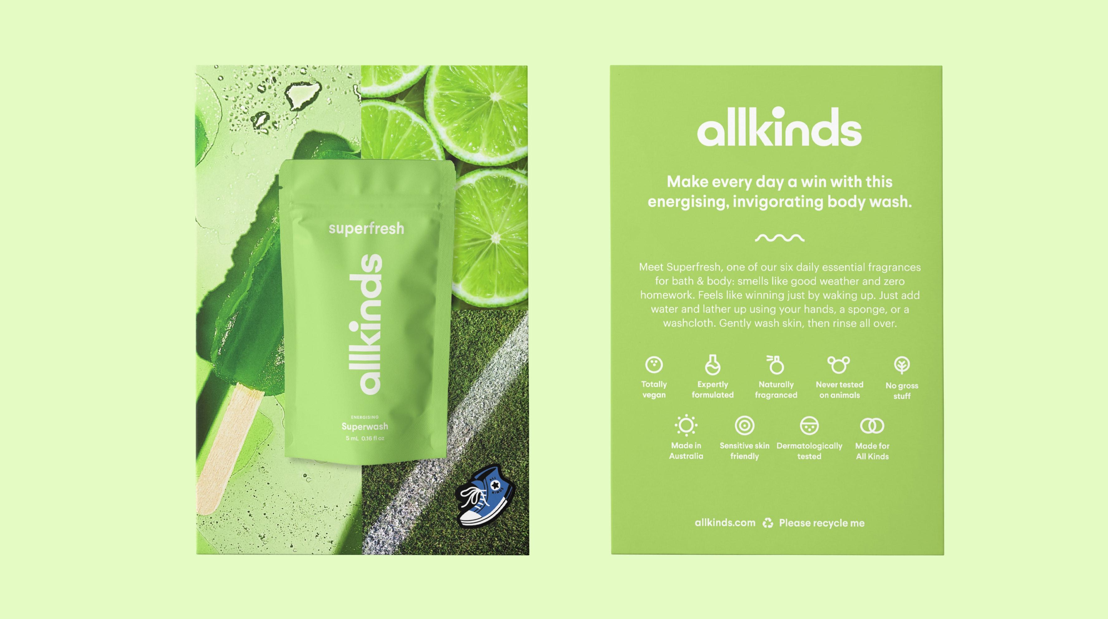 Allkinds Superfresh Superwash sample and sampling card packaging for retail distribution