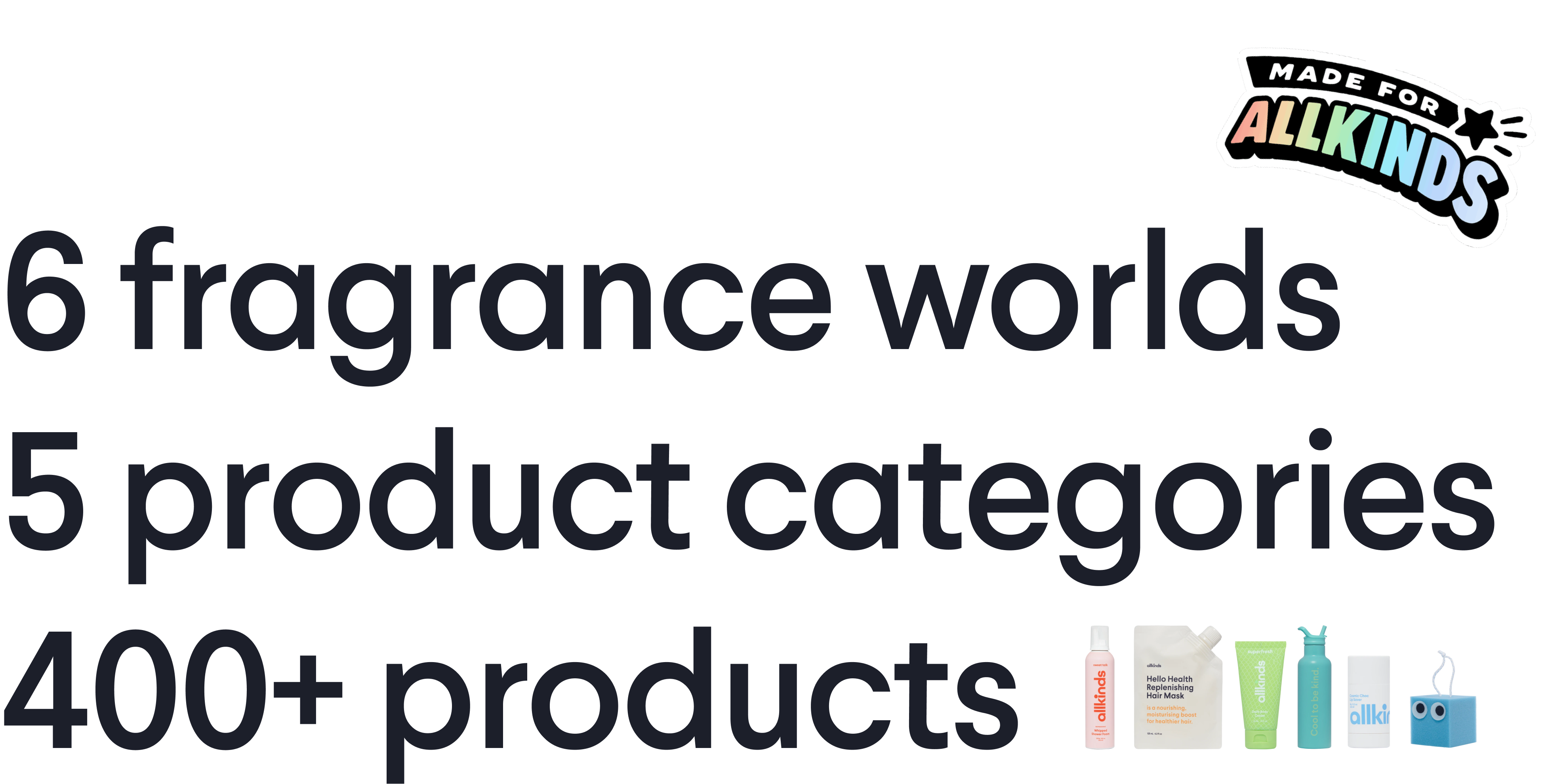 6 fragrance worlds, 5 product categories, 400+ products