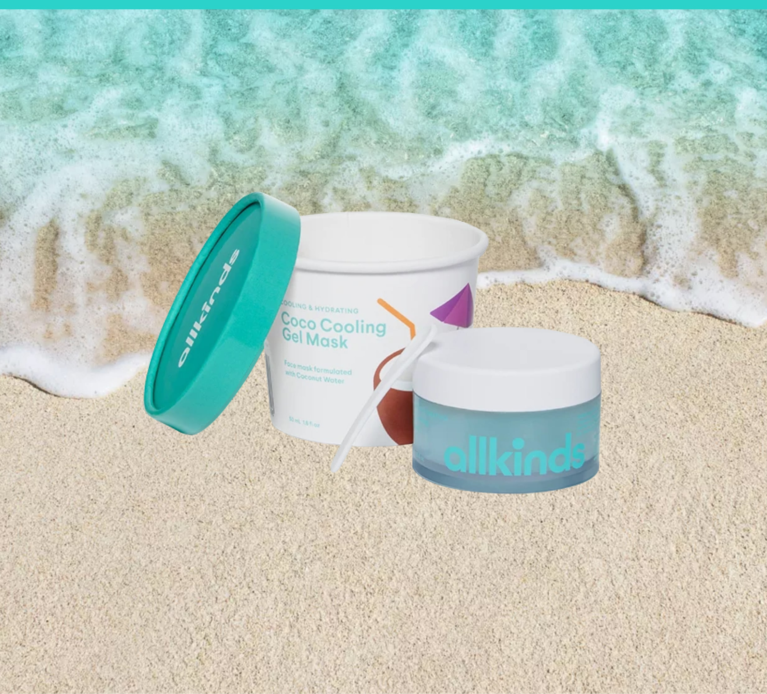 Allkinds' Hey Vacay Coco Cooling Gel Mask packaging with wave and sand background