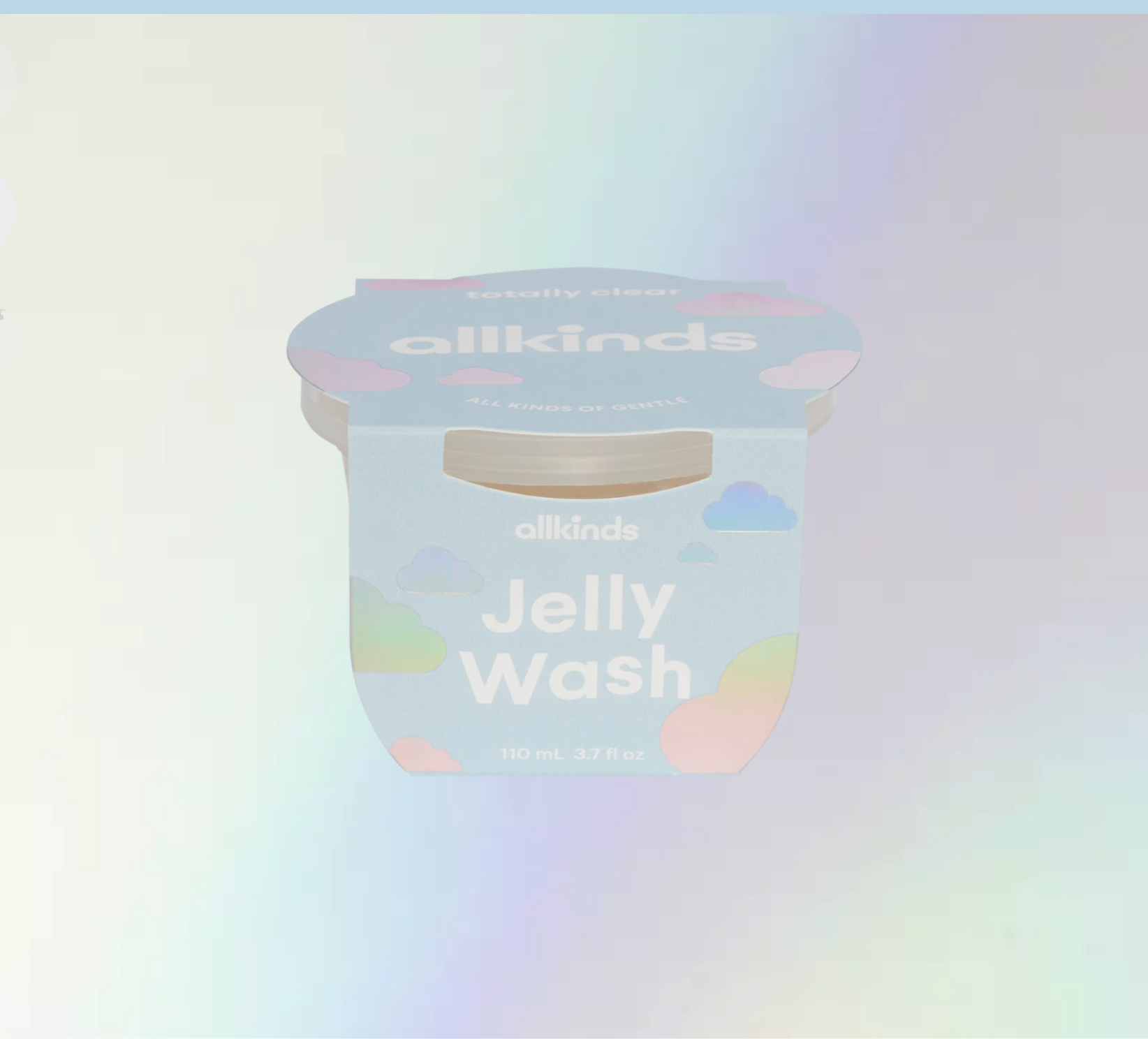 Allkinds Totally Clear Jelly Wash packaging with light holographic background
