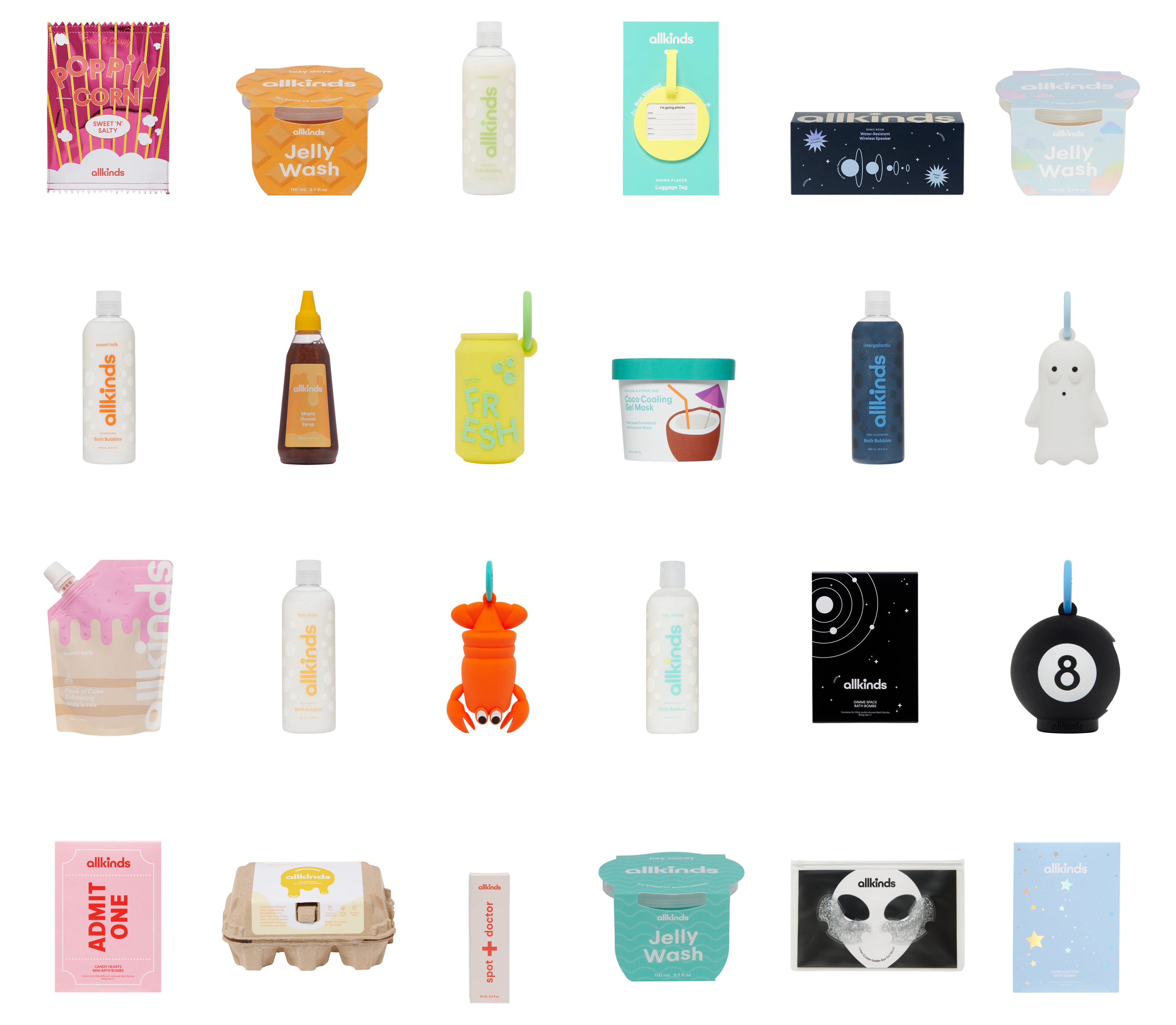 Grid of 24 products designed by Claire Whitman for Allkinds