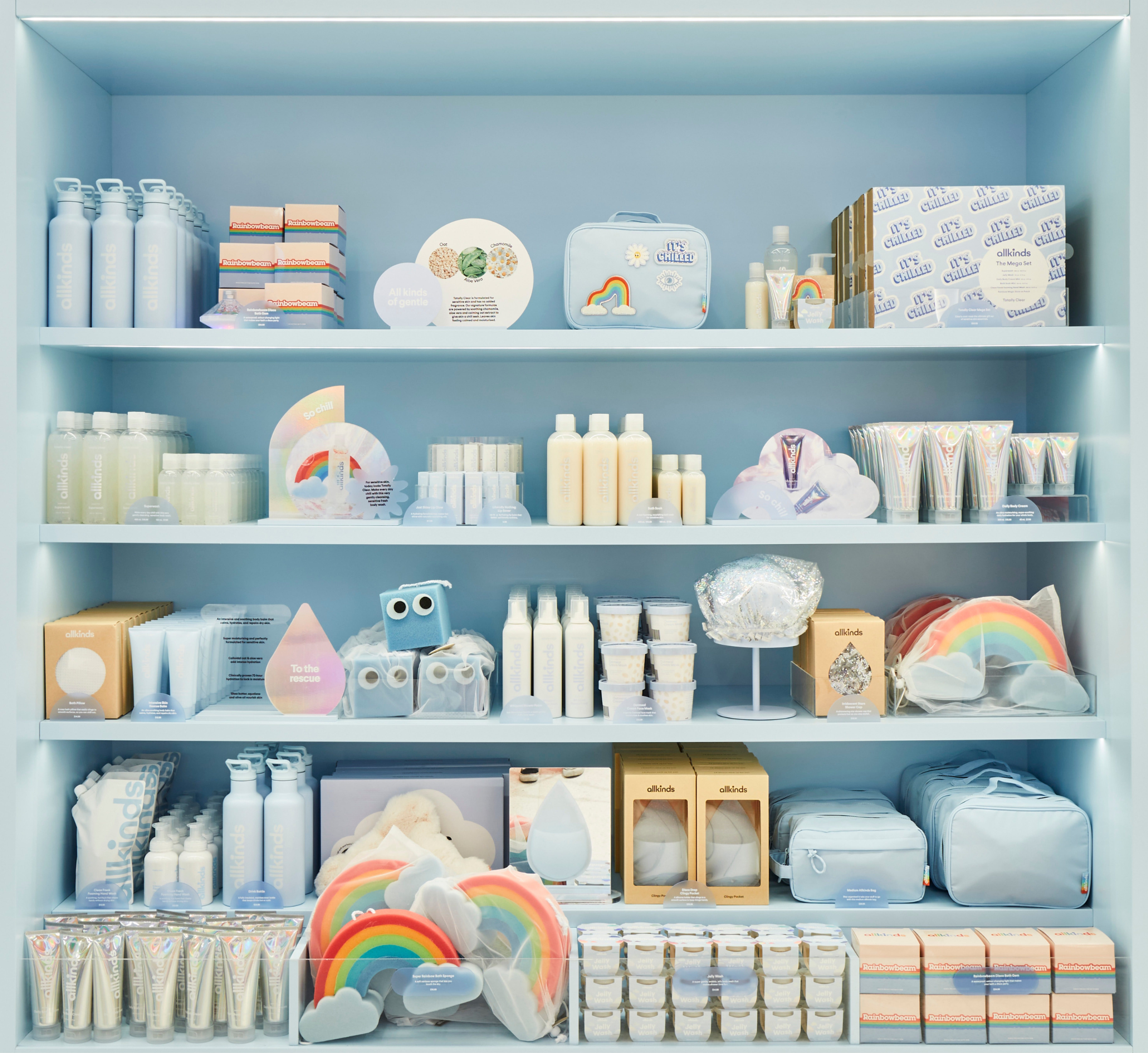 """Packaging and signage for Allkinds bath & body world """"Totally Clear"""""""