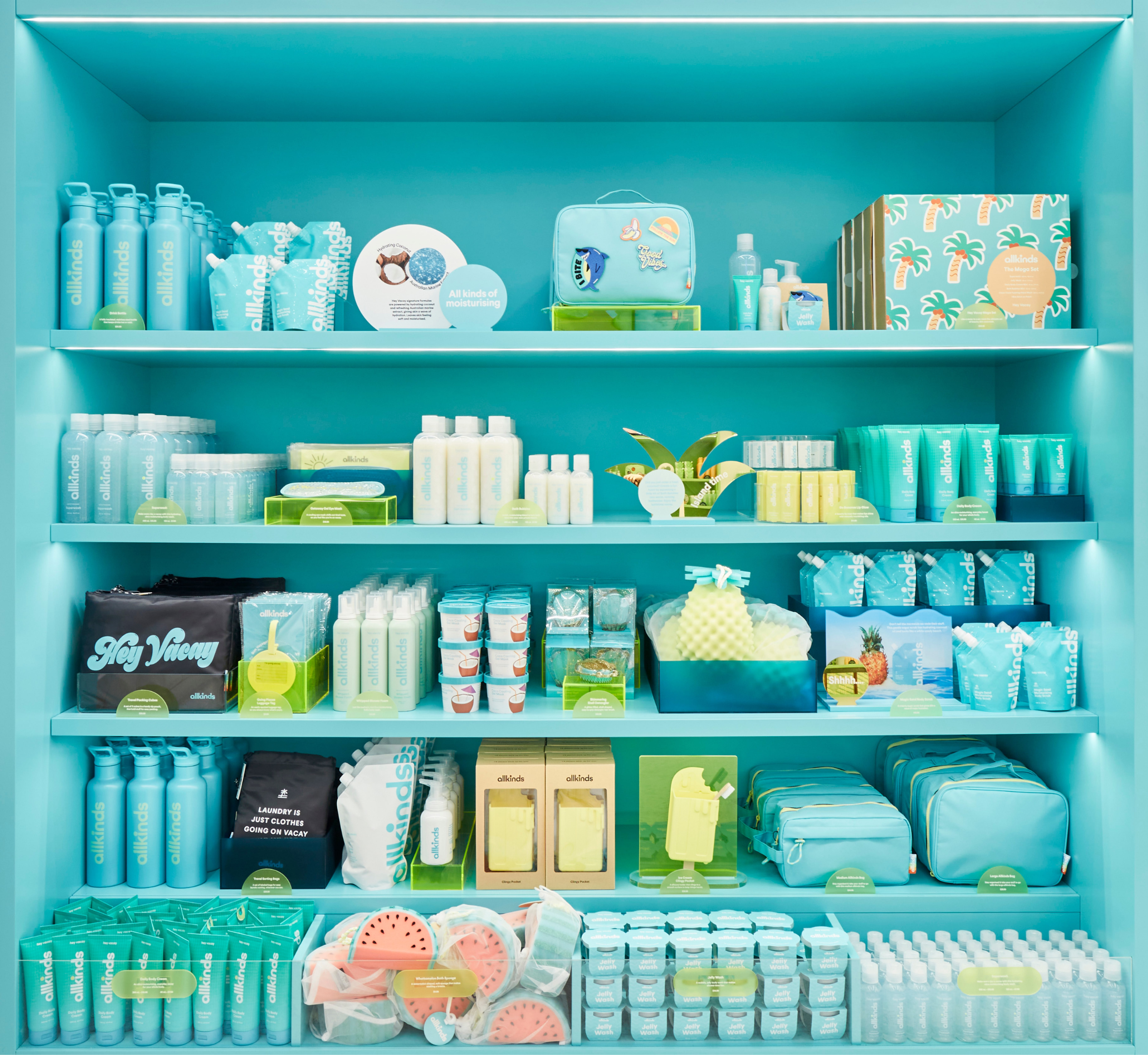 """Packaging and signage for Allkinds bath & body world """"Hey Vacay"""""""