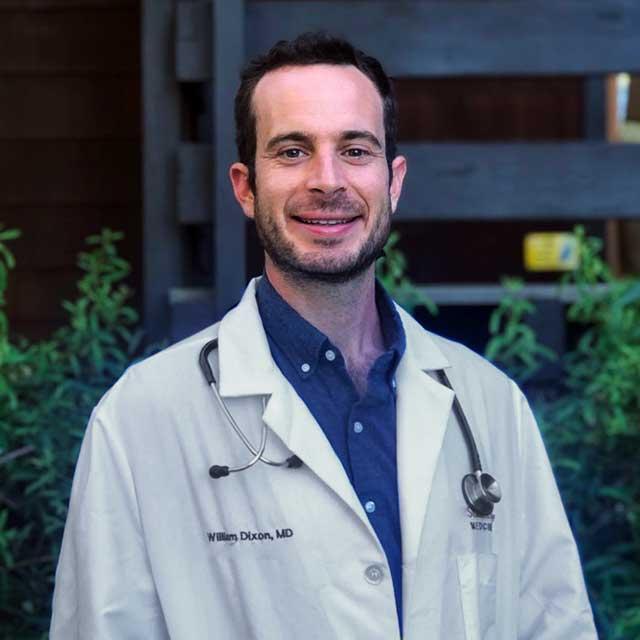 A circular profile image of Dr. William Dixon, Head of Medical for Signos.