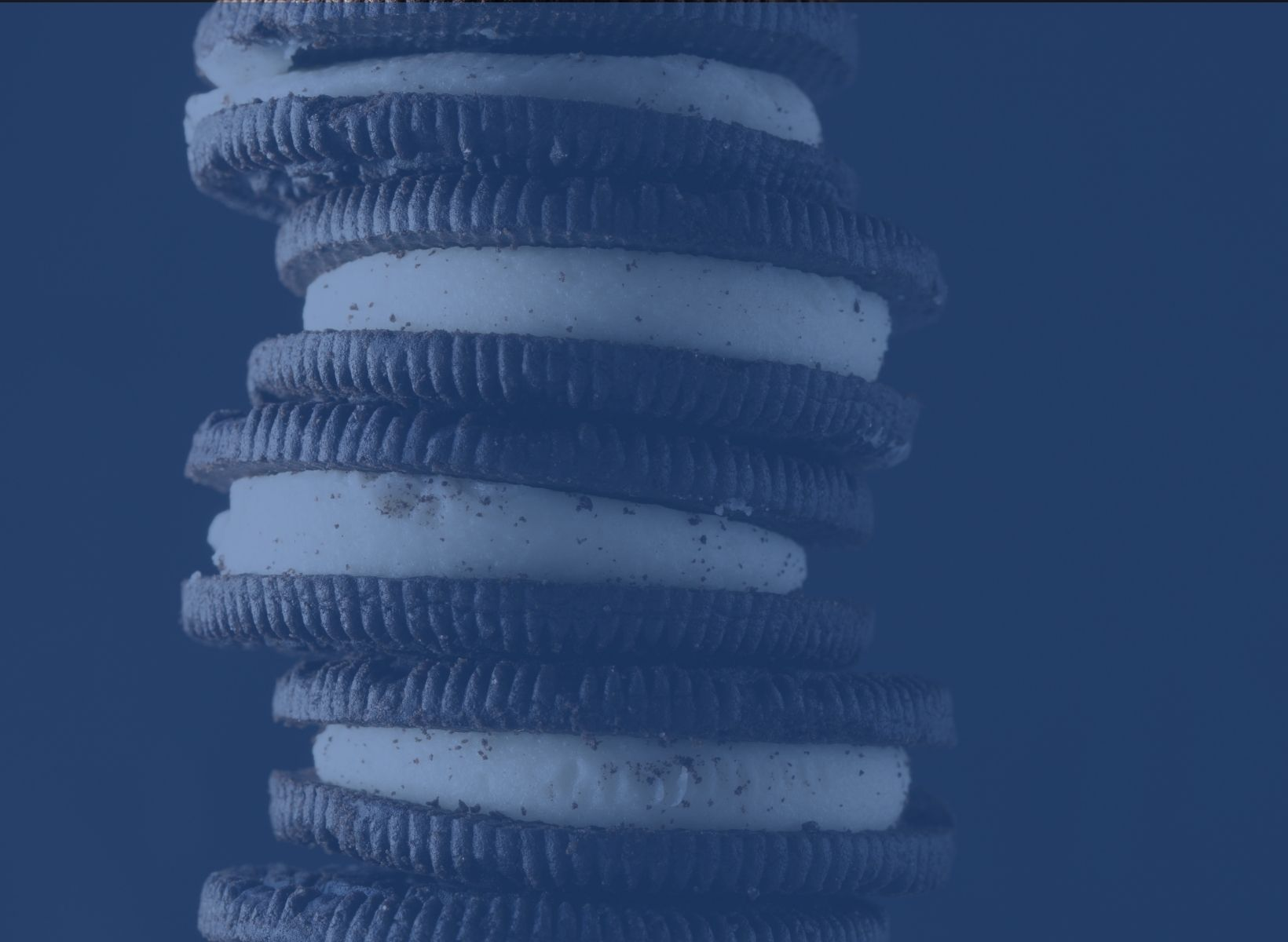 close up shot of a stack of oreo cookies