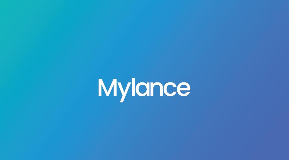 Mylance logo on gradient branded color background
