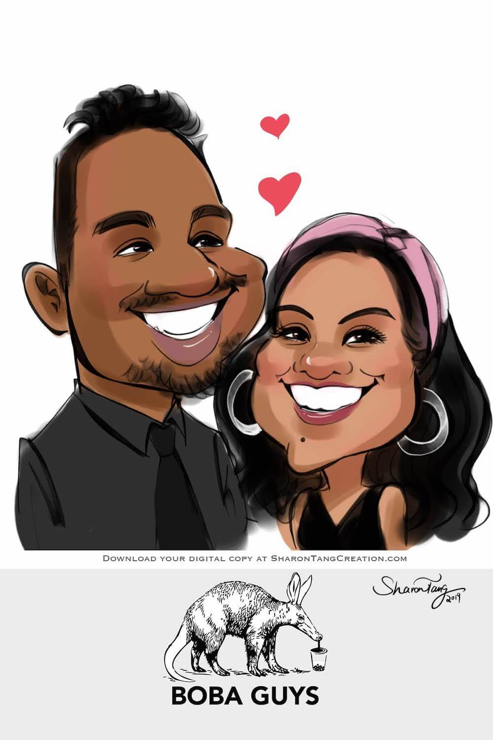 event caricature anniversary caricature gift by Sharontangcreation.com