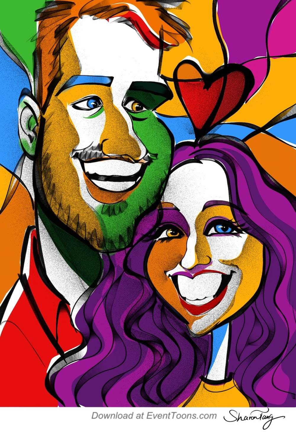 abstract caricature anniversary caricature gift by Sharontangcreation.com