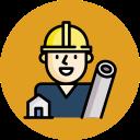 icone de technicien avec un casque sur la tête et des plans à la main