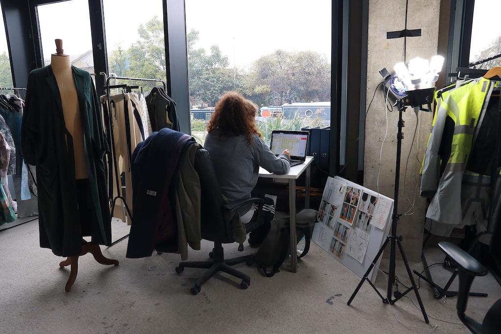 A designer works in their studio.