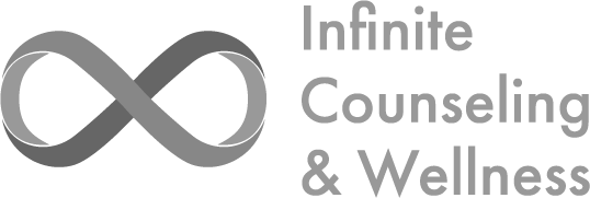 A grayscale version of the Infinite Counseling & Wellness Logo