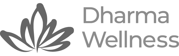 A grayscale version of the Dharma Wellness Logo