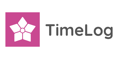Timelog partner's pink and gray logotype.