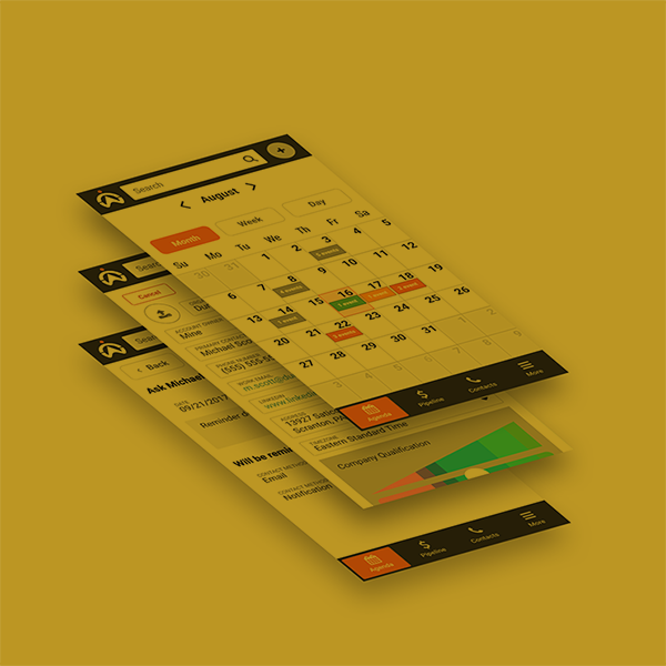 A stack of mobile UI