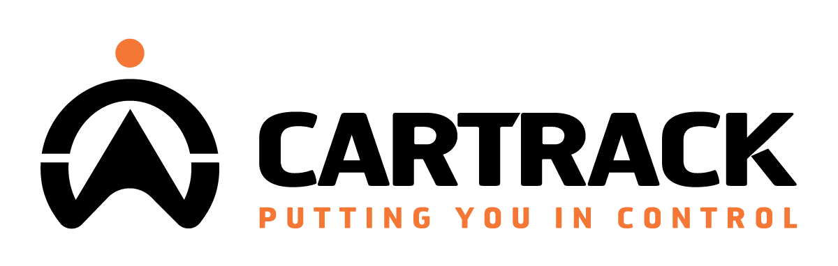 Cartrack logo, with a slogan that reads: Putting you in control.
