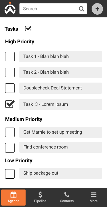 Mobile screenshot of task to-do list.