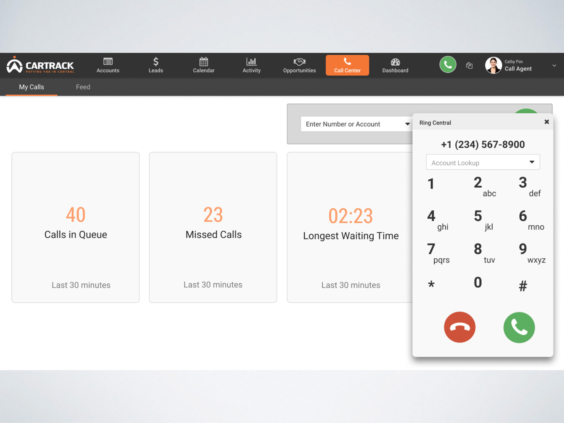 Desktop call center dashboard, keeping track of calls.