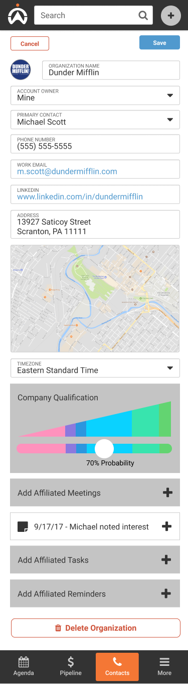 Mobile screenshot of a company information being added.