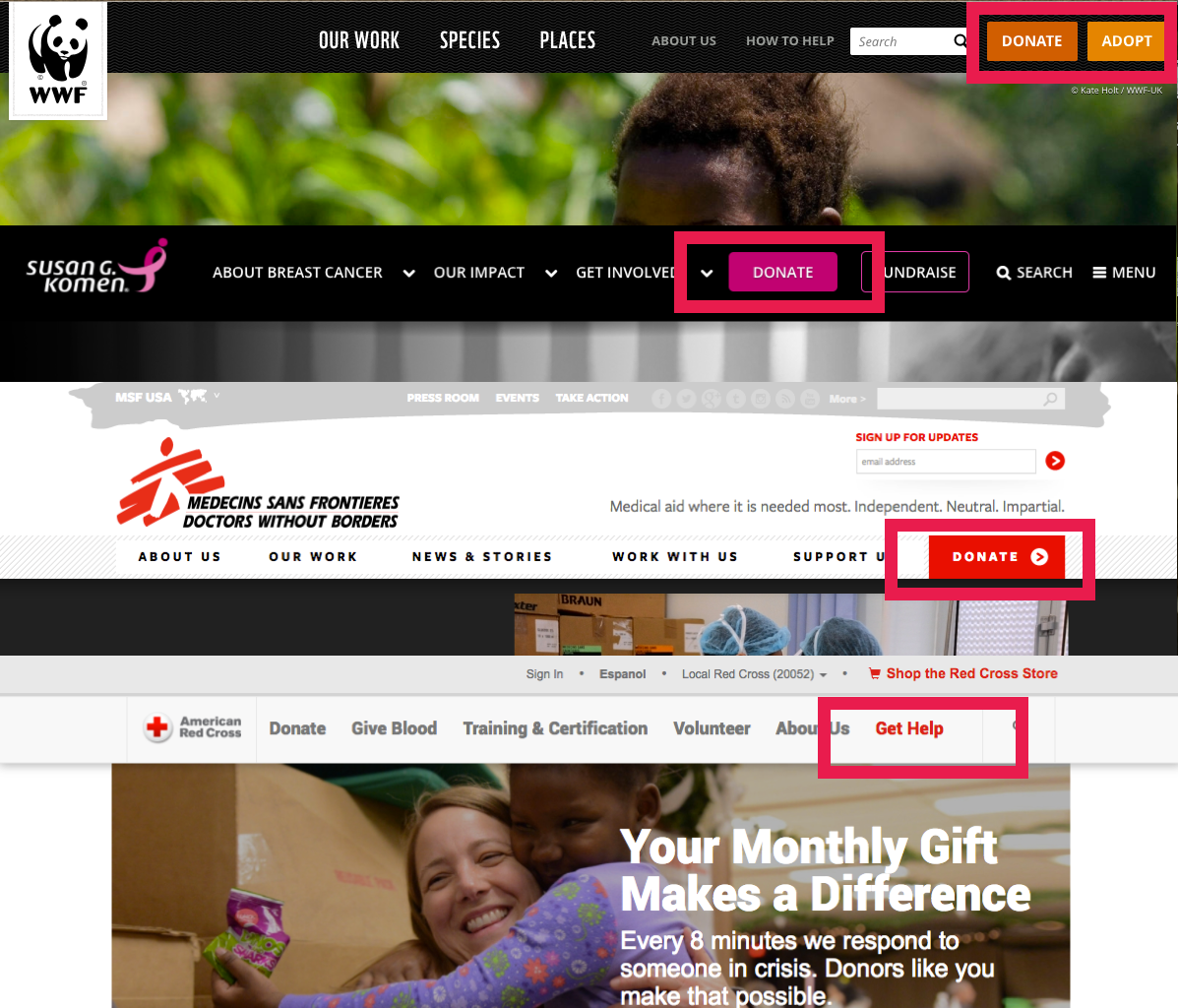 Case study of different non-profit websites, all have a prominent donate button in top right corner.