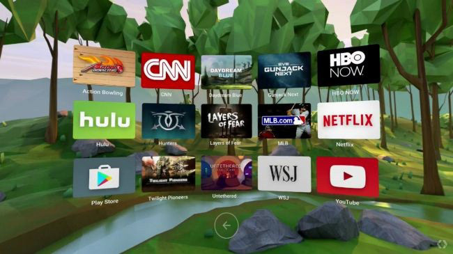 Google Daydream menu showing different streaming apps.