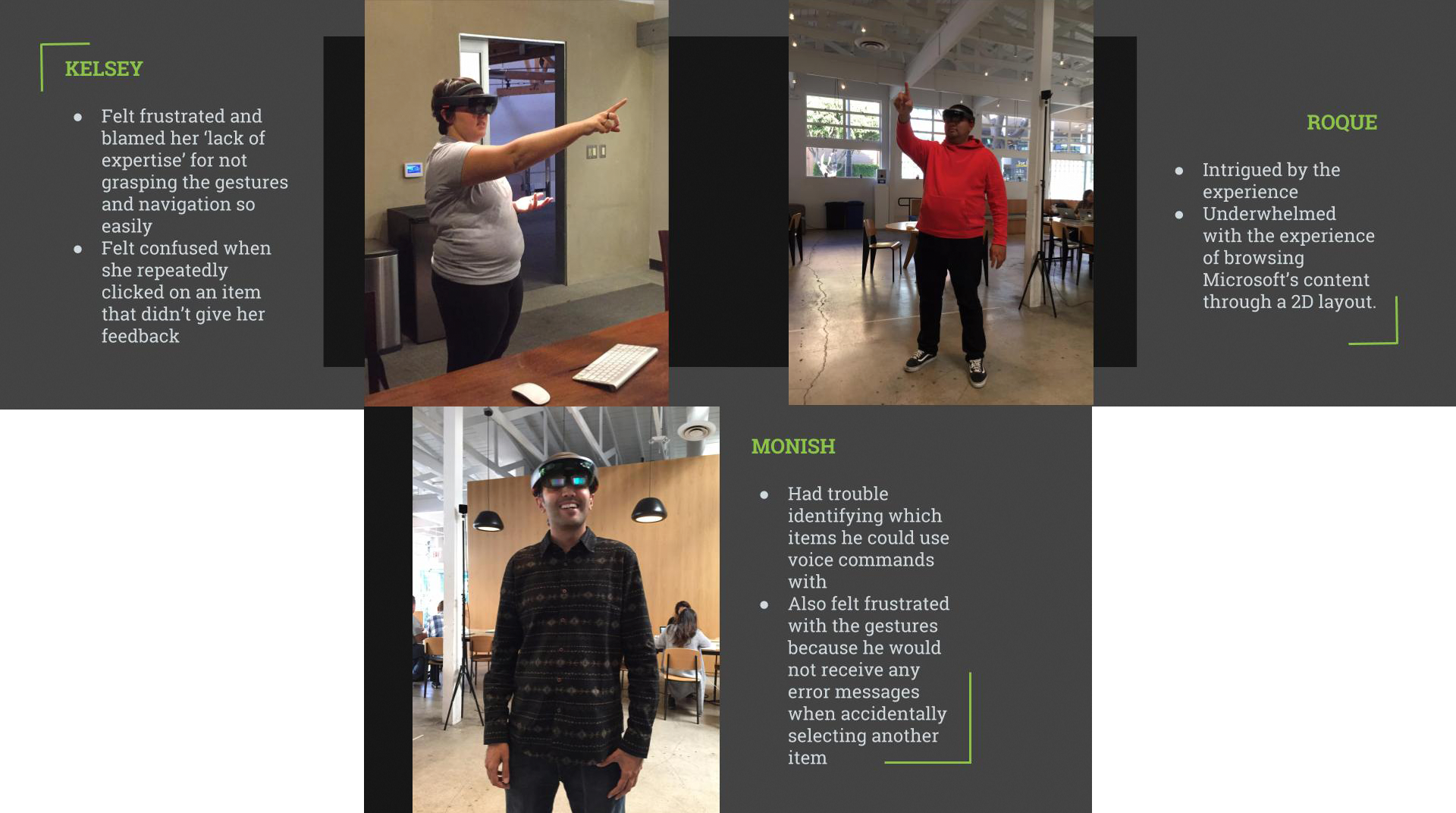 Photos of different actual users using the Hololens.
