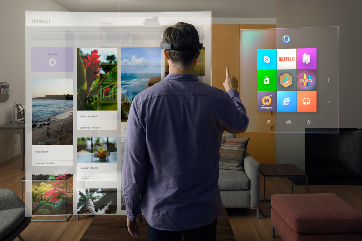 A man wearing the Hololens, and the different UI displayed.