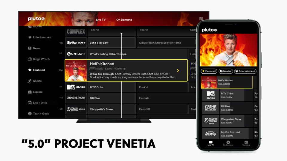 """A phone and a TV showing the channel guide, with Gordon Ramsey in the background. Title reads: """"5.0"""" Project Venetia."""