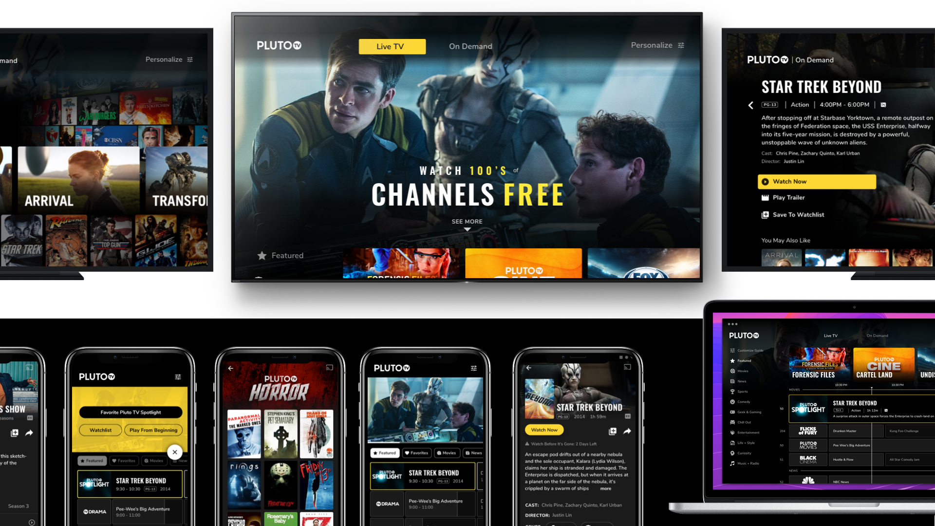 Different devices showing Pluto TV's interface.