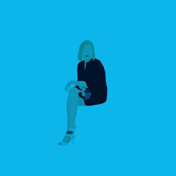 A business woman sitting