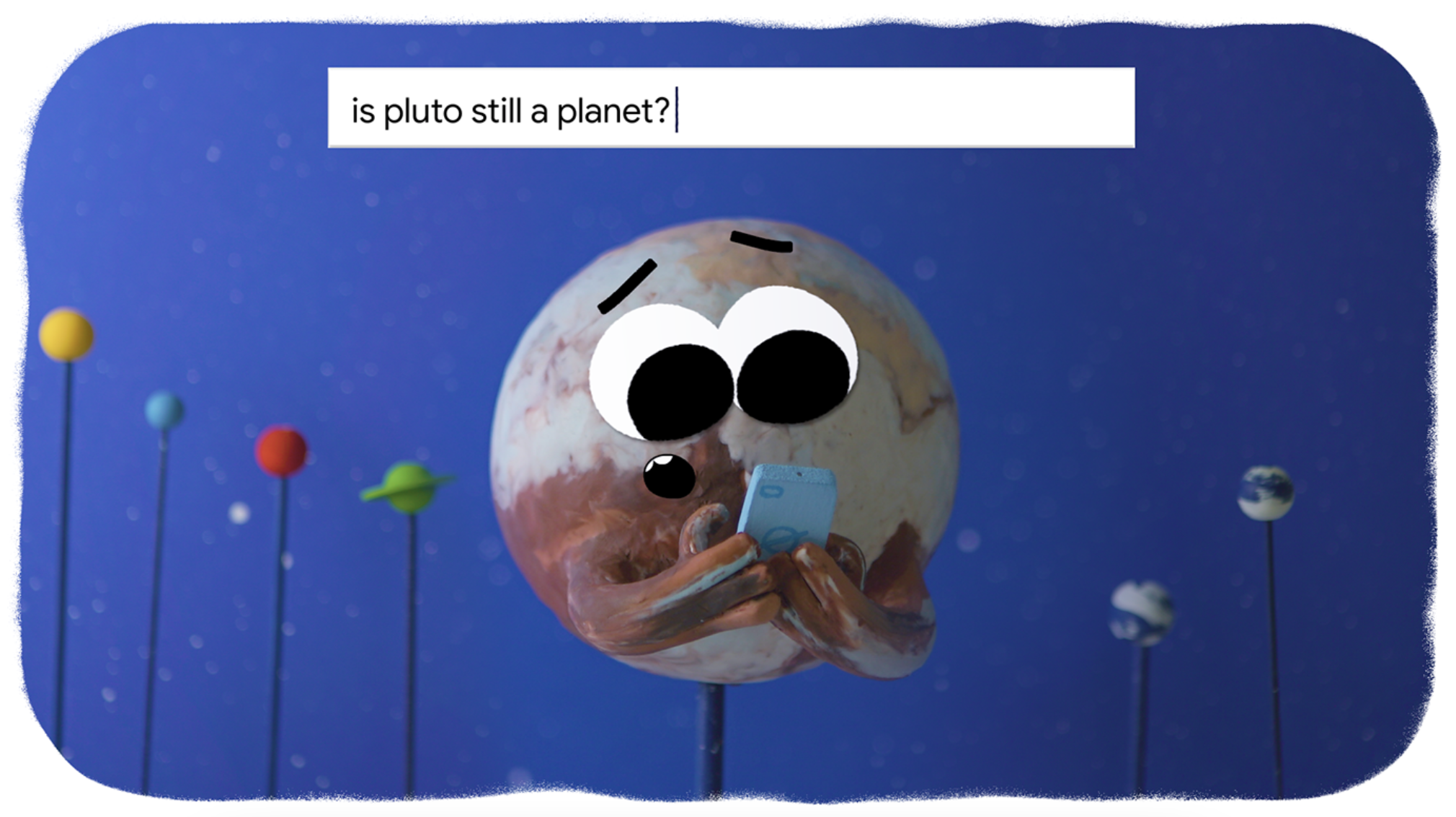 A clay cartoon of Pluto the planet googling if it's still a planet.