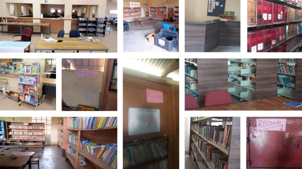 A photo collage of the libraries' shelves and workspaces.