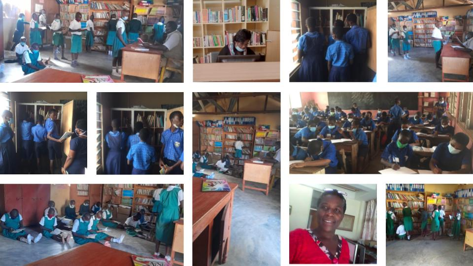 A photo collage of students and teachers at the library.