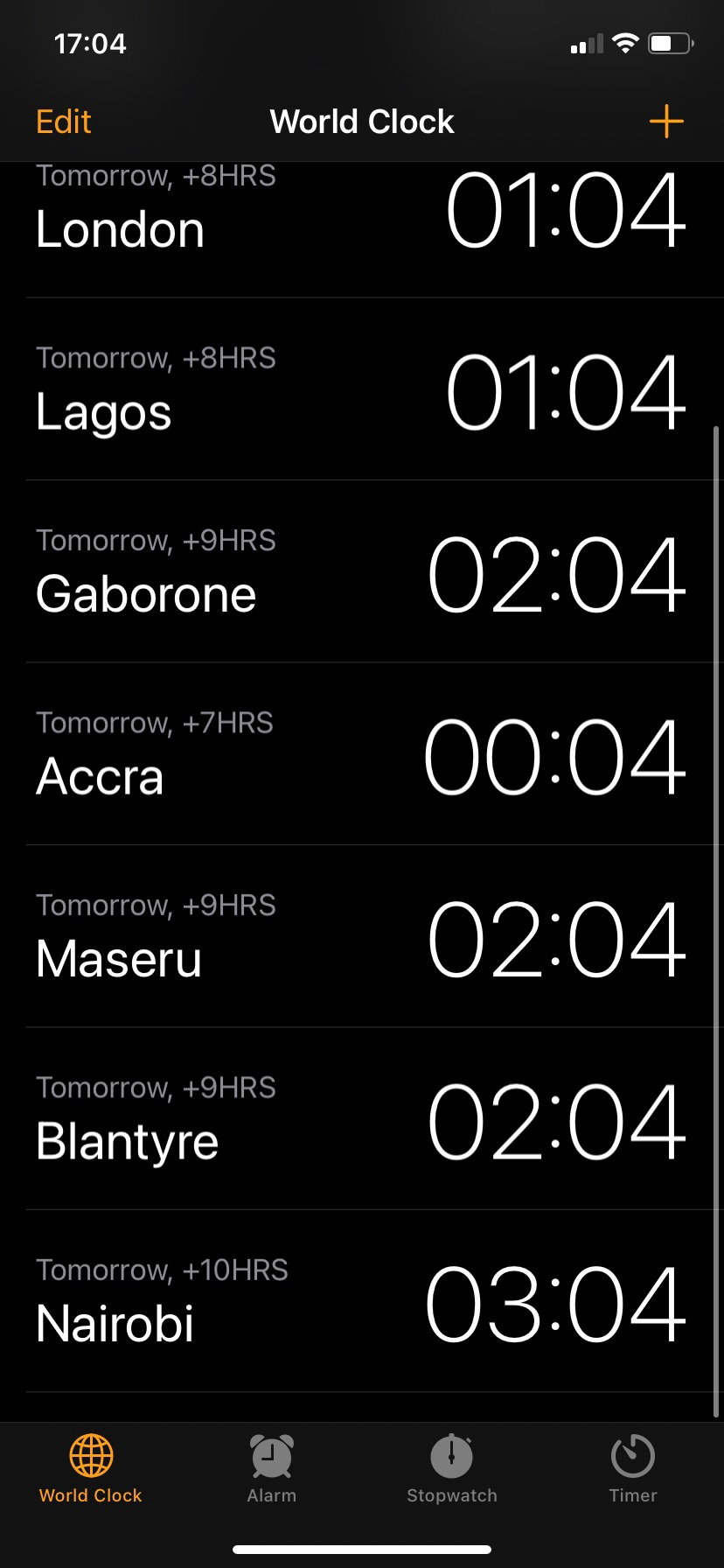 Screenshot of clock app, showing different cities throughout Africa's timezones.