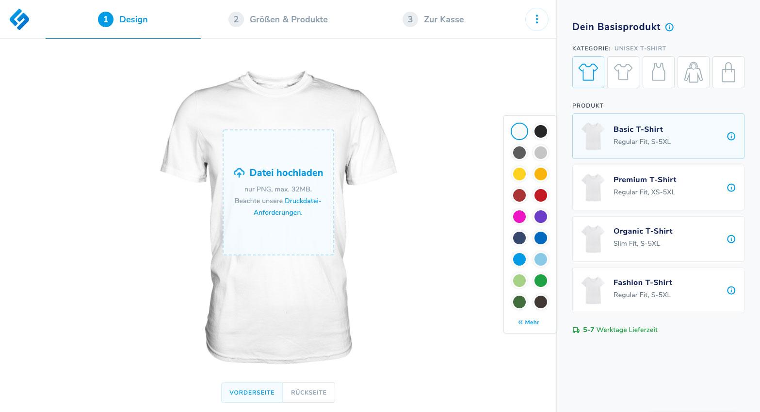 Online-Designer mit T-Shirt-Mock-Up