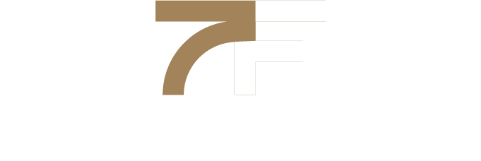 Bold 7 and Bold F with 7 Figure Flipping text logo