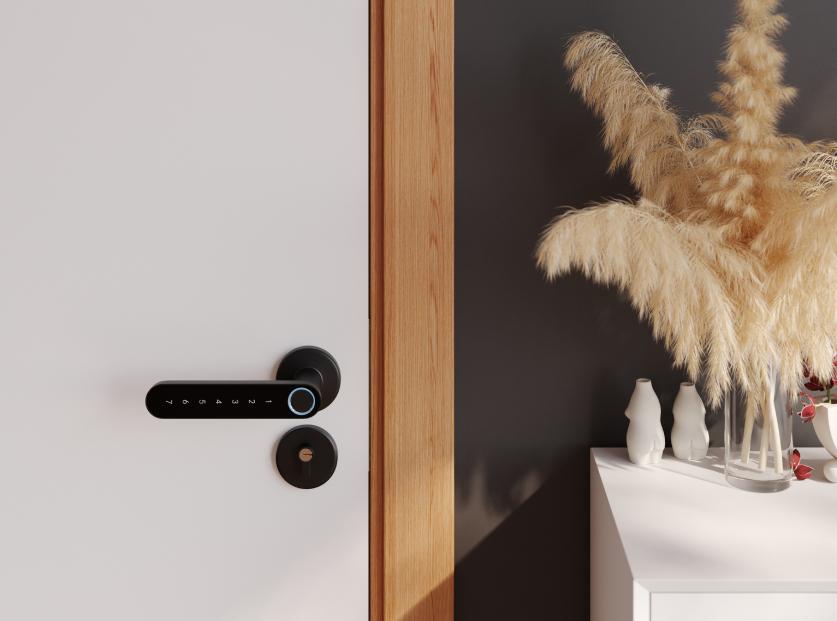 3D model of door handle in beautiful interior scene