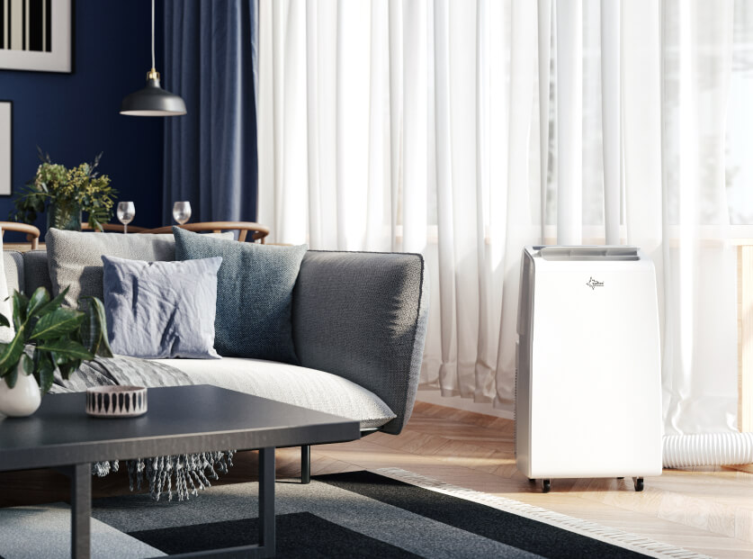 Air conditioning device in beautiful realistic interior scene