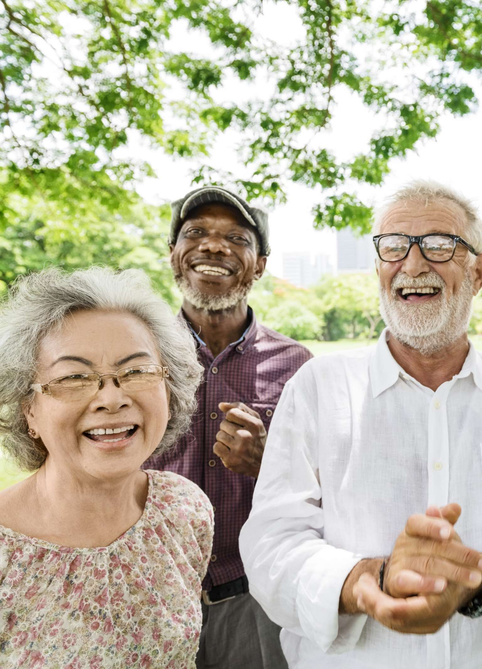 Group of multi-racial older adult friends