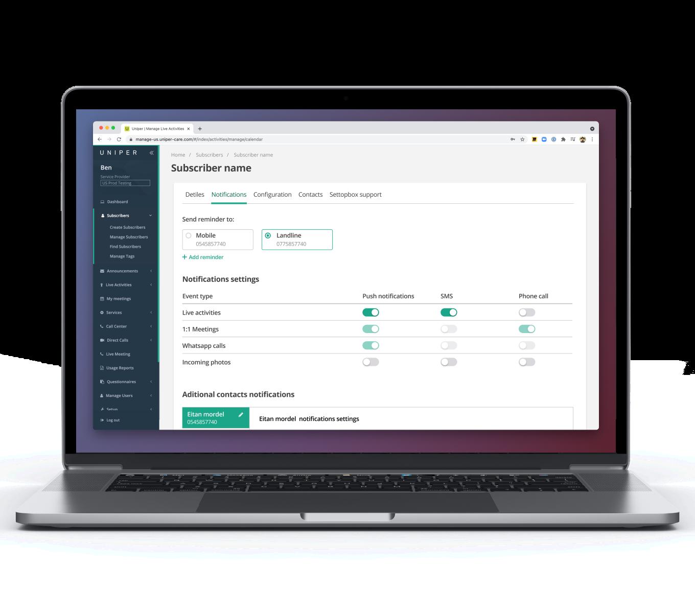 Laptop showing Uniper Platform UI