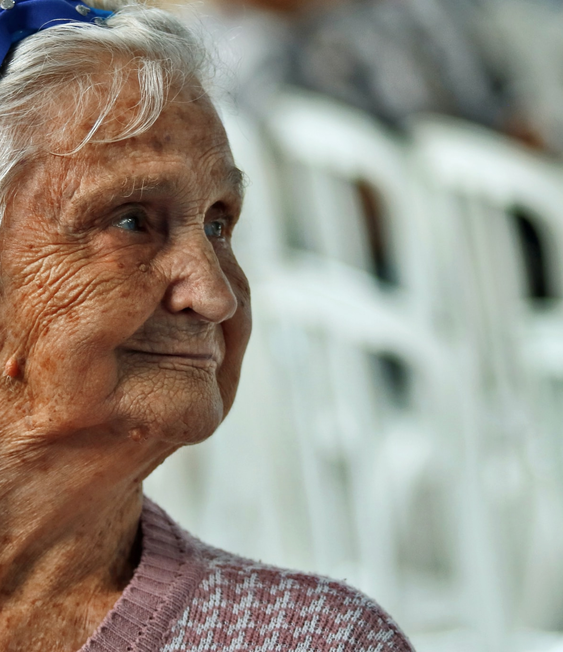 Older woman looking right