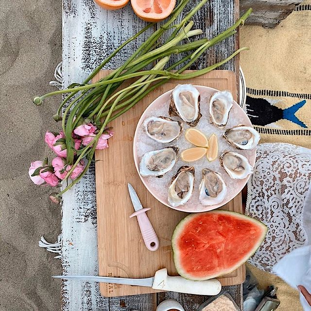 Shucked Oysters on beach