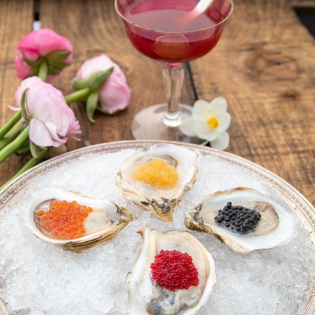 Oysters sitting on ice next to mignonette