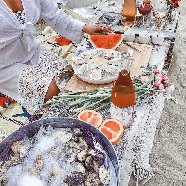 Oyster with wine at the beach