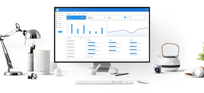 Het VobeSoft platform dashboard op een iMac