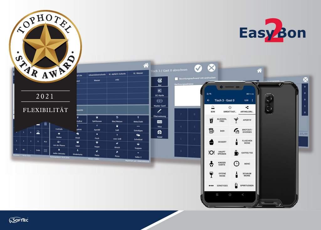 """Zum dritten Mal in Folge wurde die SoftTec GmbH für ihre Softwarelösungen """"Voucher"""" und """"Easy2Bon mobile"""" vom führenden Fachmagazin """"Tophotel"""" ausgezeichnet."""
