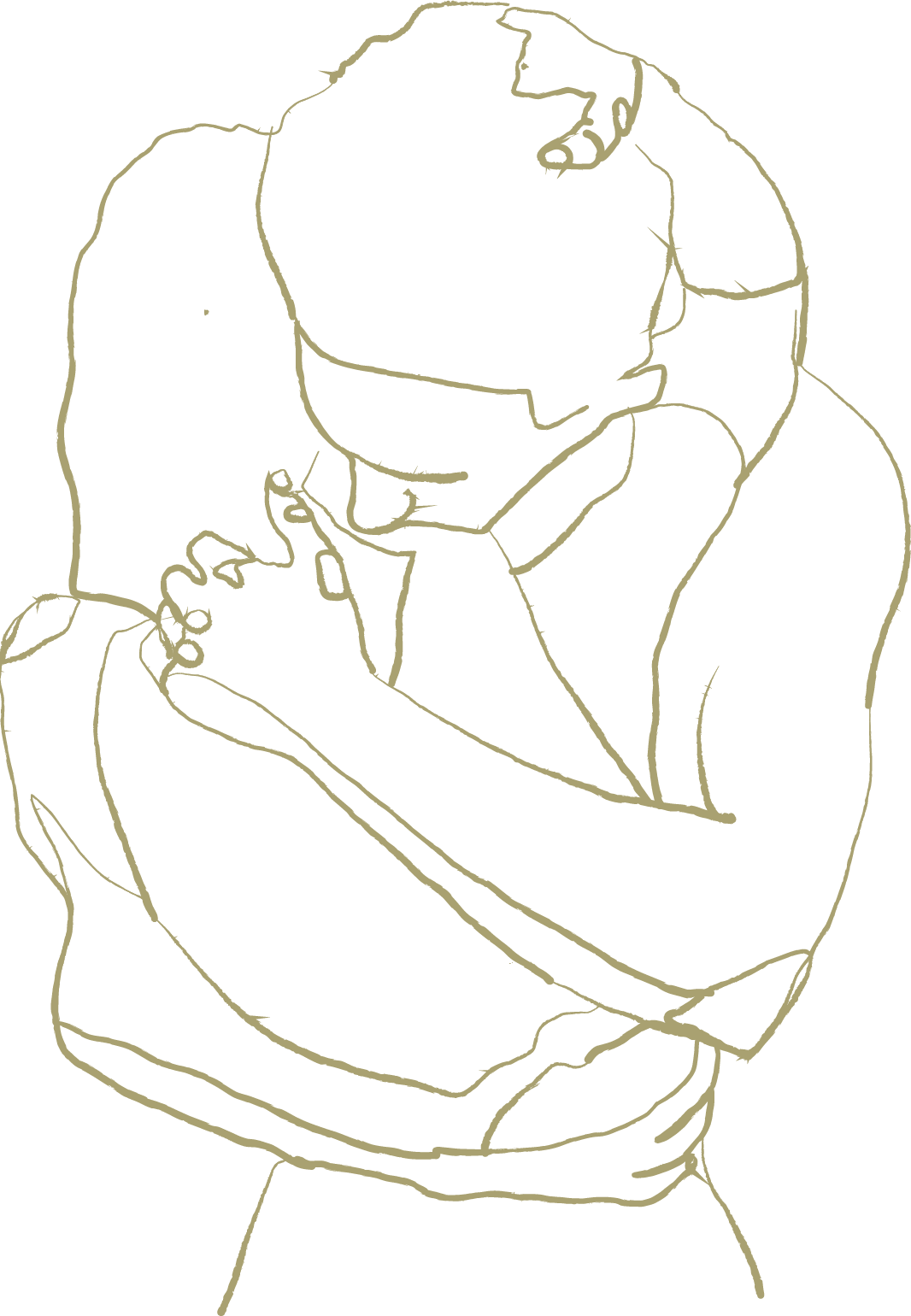 Line drawing couple embracing