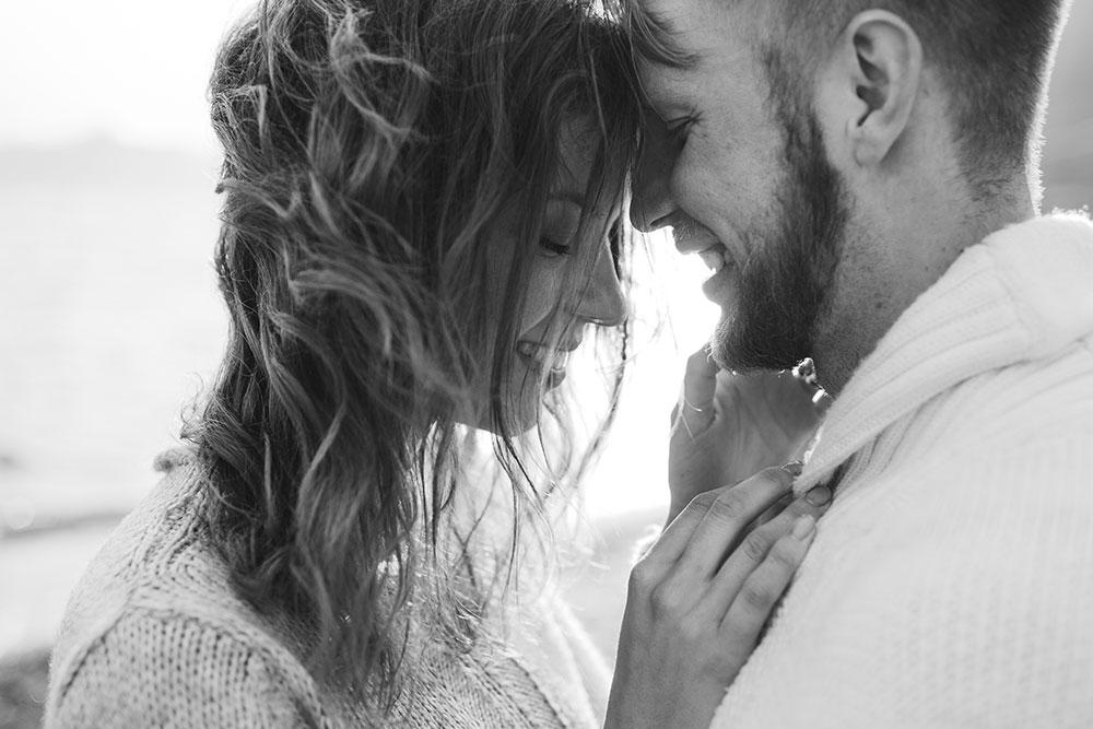 Couple embracing lovingly