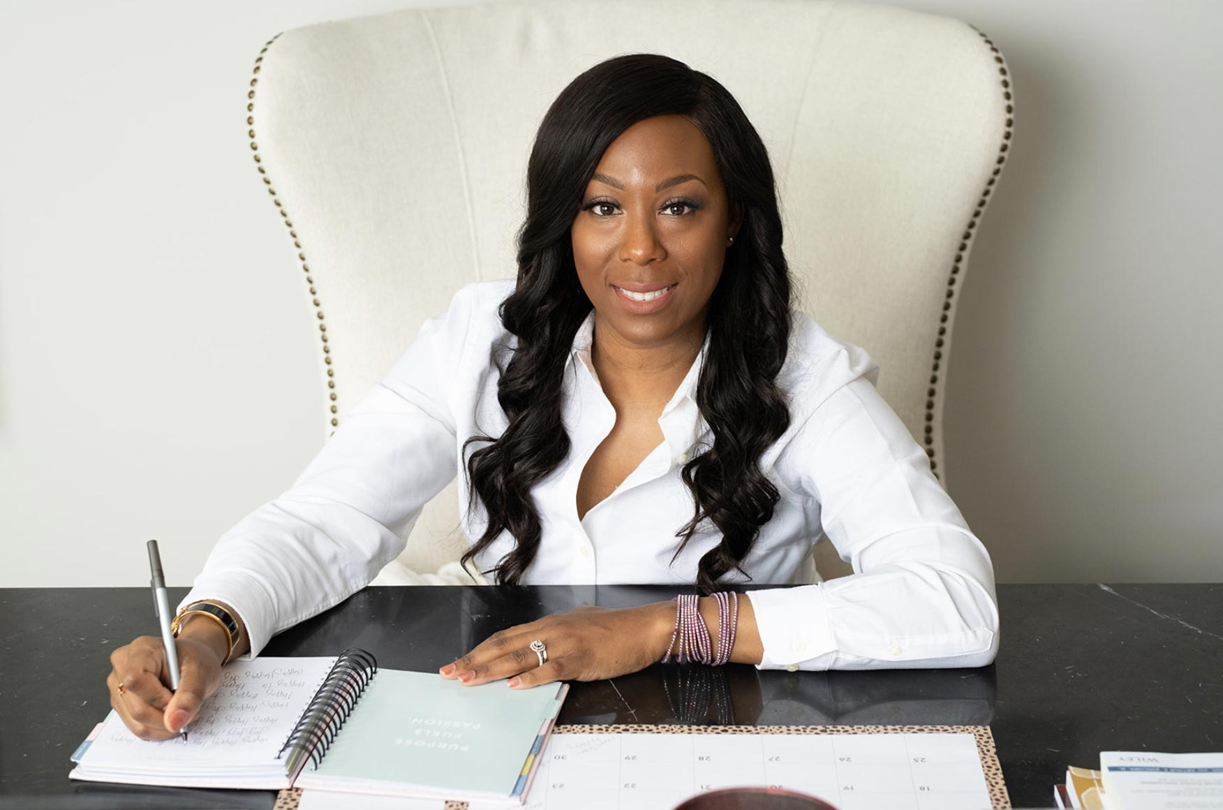 Marissa Nelson at her desk