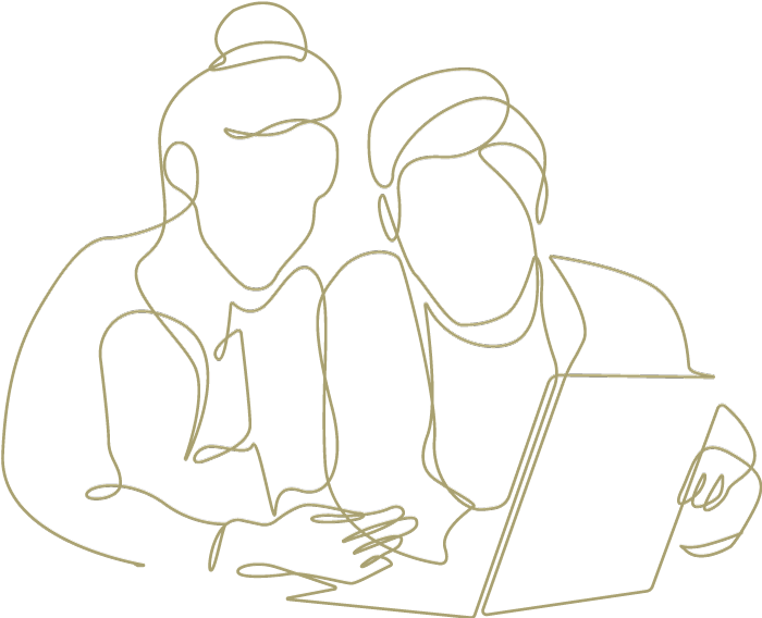 Lineart of a couple watching a laptop computer